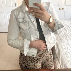 LOFT Bleached Pale Blue and White Jean Jacket